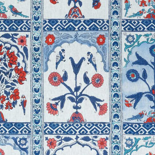 Indian Panel Printed Linen Fabric Red Blue