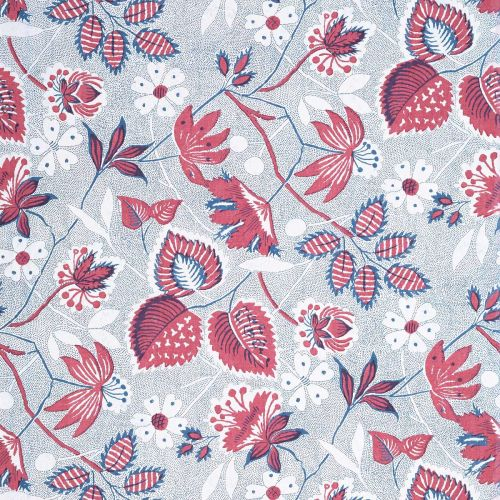 Indienne Hazel Wallpaper in Red and Blue