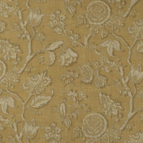 Gold Floral Printed Linen Fabric