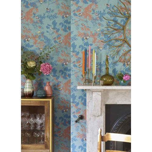 Julia Teal and Coral Living Room Wallpaper