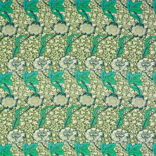 Kennet Olive Green and Turquoise Floral Fabric