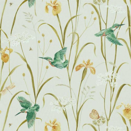 Kingfisher and Iris Satin Fabric