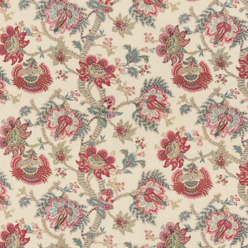 Kingham Embroidered Fabric Red Blue