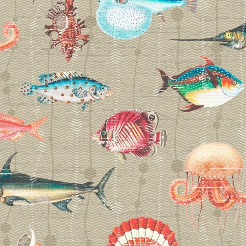 Kitts Wallpaper Taupe Fish Neutral
