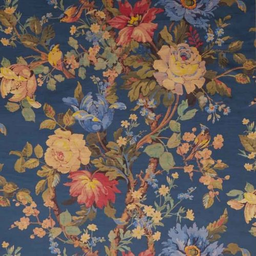 Lady Kristina Blue Rose Printed Velvet Fabric