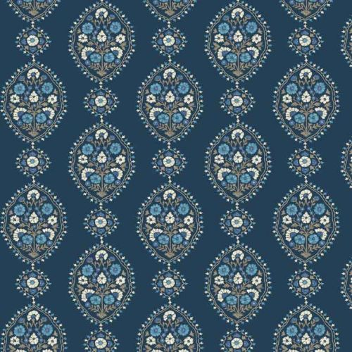 Dark Blue Floral Embroidered Fabric