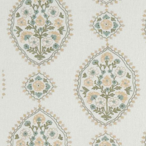 Green and Yellow Floral Embroidered Fabric
