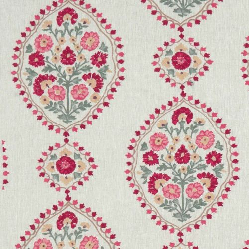Red and Green Floral Embroidered Fabric