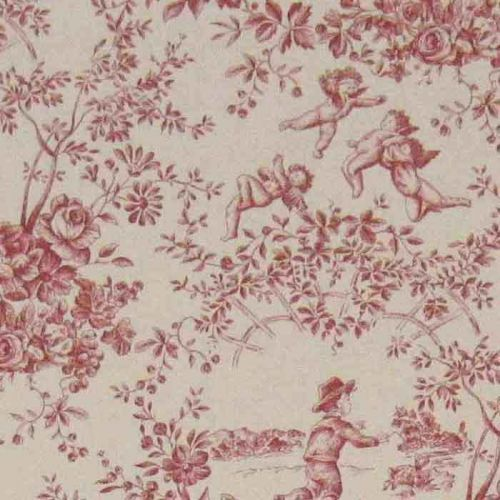 Le Parc Monceau Cotton Fabric Red Toile