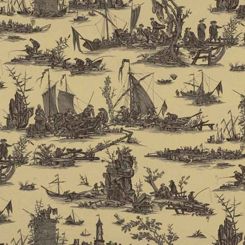 La Peche Maritime Cotton Fabric Dark Grey Toile