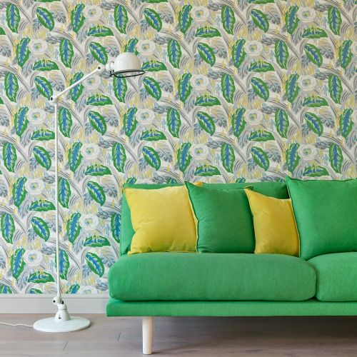 Les Fauves Blue and Green Large Floral Print Wallpaper