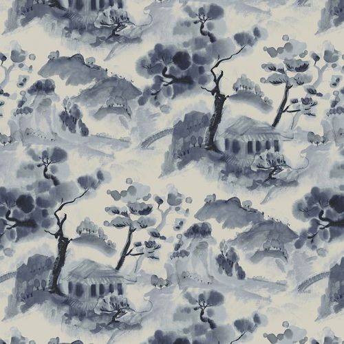 Scenic fabric in ink blue