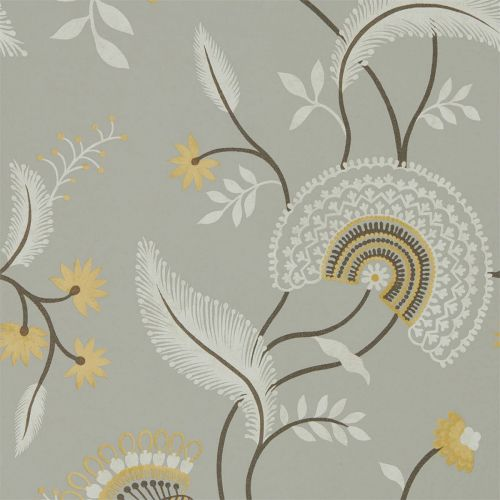 Light Brown and Grey Floral Wallpaper