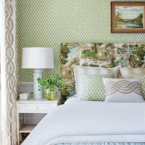 Lincoln Green and Blue Toile Fabric Headboard