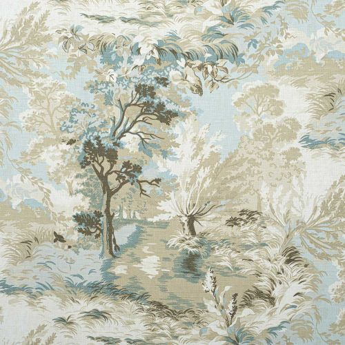 Lincoln Toile Fabric Beige and Spa Blue