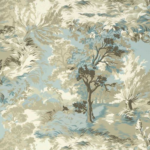 Lincoln Toile Wallpaper Beige and Spa Blue