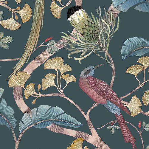 Living Branches Wallpaper Dark Teal Yellow Olive