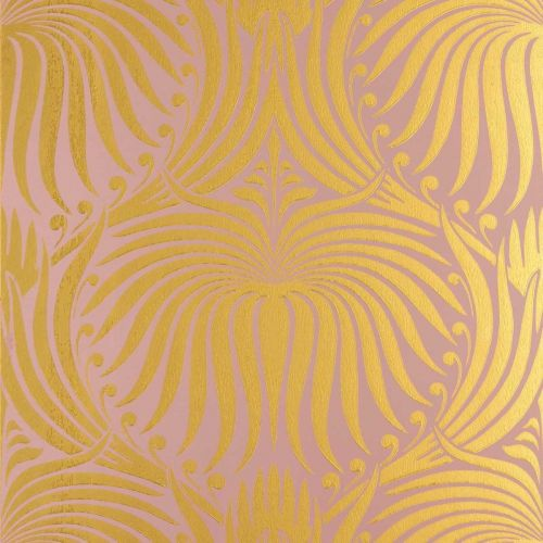 Lotus Wallpaper Sulking Room Pink Bespoke Gold