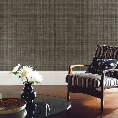 Lucia Black and Gold Tartan Wallpaper