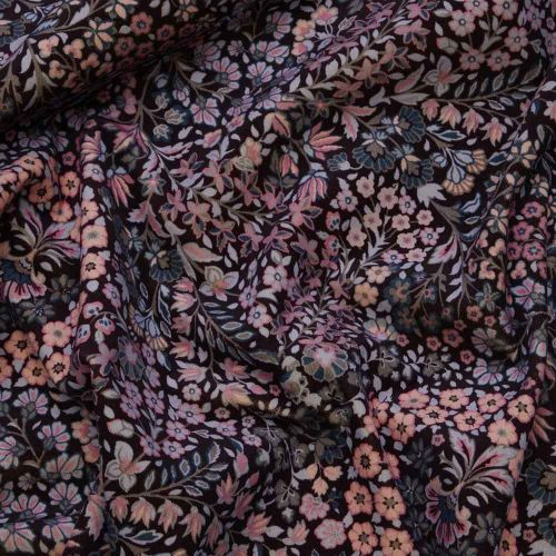 Marquess Garden Pink Floral Print Cotton Velvet Fabric