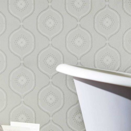 Milcombe Grey and White Bathroom Wallpaper