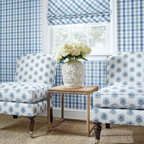 Milford Blue Small Floral Print Fabric