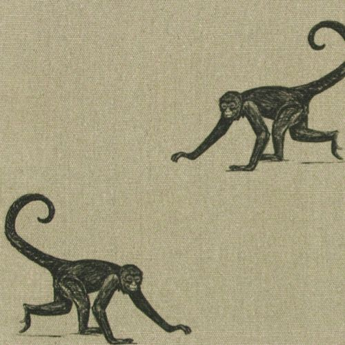 Monkey Printed Linen Fabric