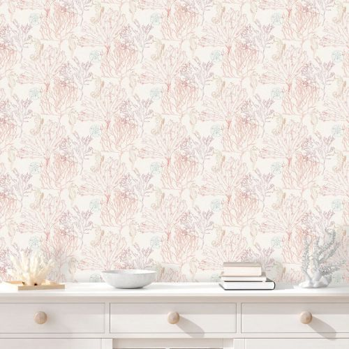 Montserrat Coral and Red Wallpaper