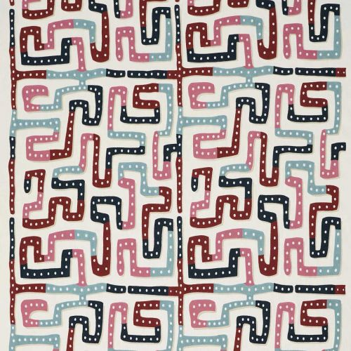 Moonstone Embroidered Fabric Raspberry Pink Blue Red