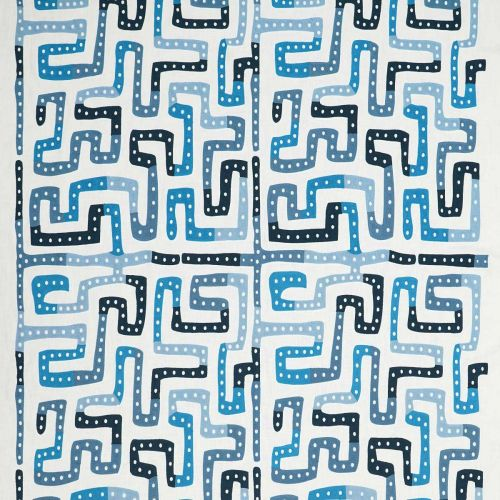 Moonstone Embroidered Fabric Saphire Blue Abstract
