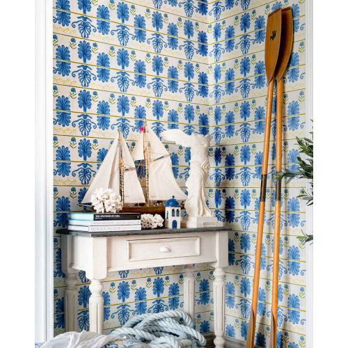 Mykonos Blue and Yellow Patterned Wallpaper