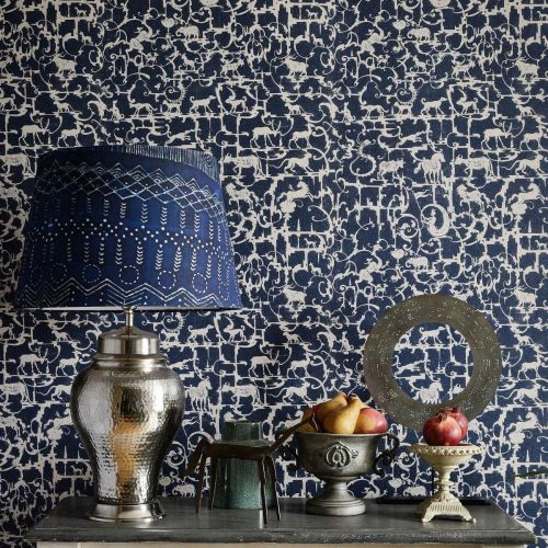 Navy Blue Patterned Wallpaper