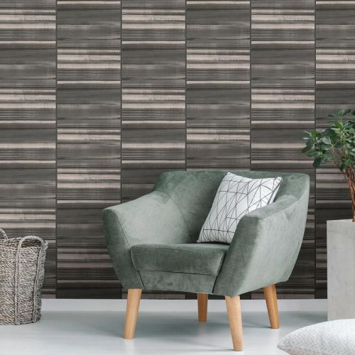 Nevis Black and Grey Striped Wallpaper