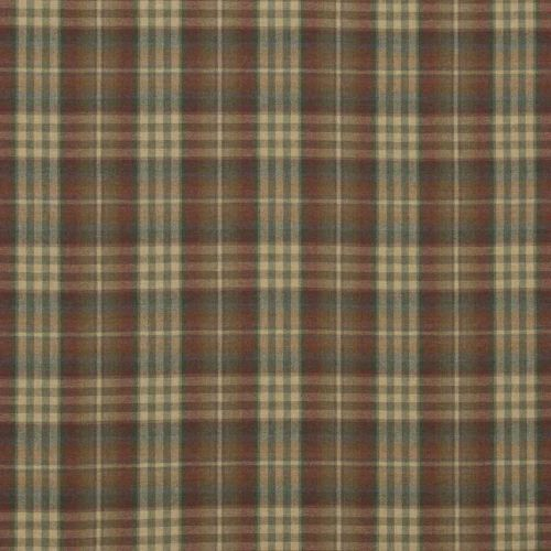 Nevis Wool Fabric Red Green Plaid