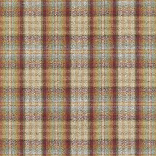 Nevis Wool Fabric Red Stone Plaid