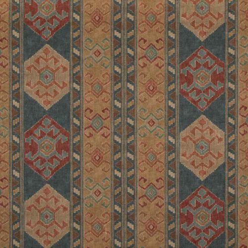 Nomad Fabric Teal Blue Red Printed
