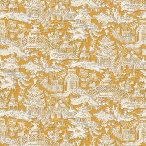 Ochre Yellow Toile Fabric