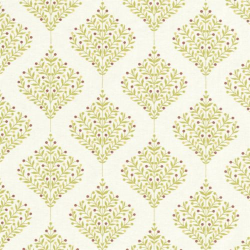 Orchard Tree Embroidered Fabric Lime Green