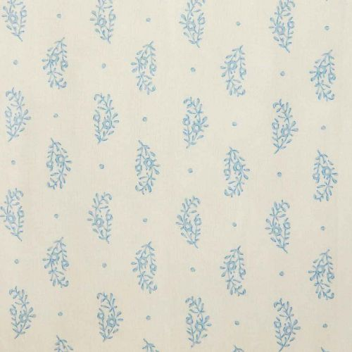 Paisley Sprig Linen Fabric Blue Floral Printed