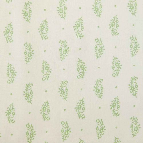 Paisley Sprig Linen Fabric Green Floral Printed