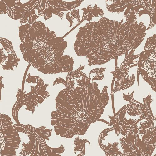 Papaver Wallpaper Red Cream