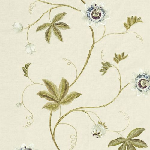 Passion Vine Embroidered Fabric Sage Green