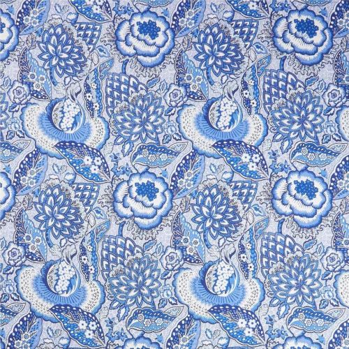 Blue and White Floral Linen Fabric