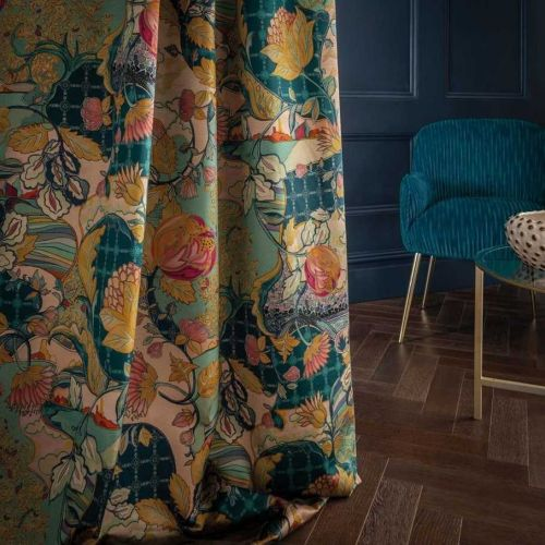 Patterned Velvet Curtain Fabric