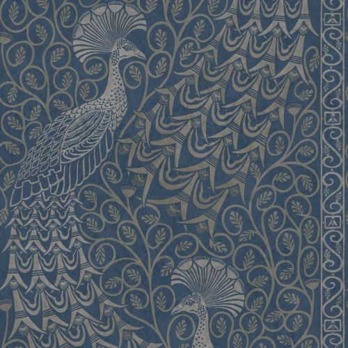 Pavo Parade Silver and Blue Wallpaper