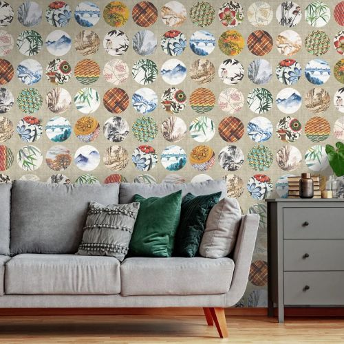 Neutral and Multicoloured Wallpaper