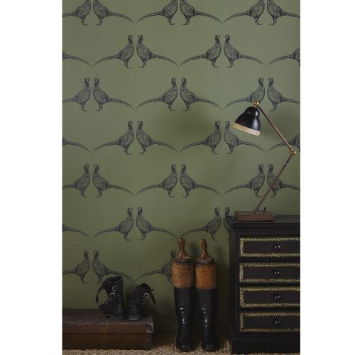 Lifestyle Image of Pheasant Wallpaper in Green from F&P Interiors
