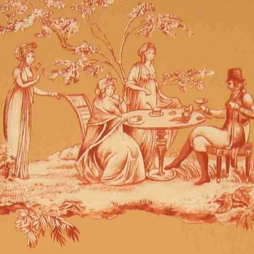 Plaisirs D'ete Cotton Fabric Orange Toile