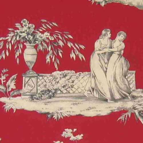 Plaisirs D'ete Cotton Fabric Red Toile