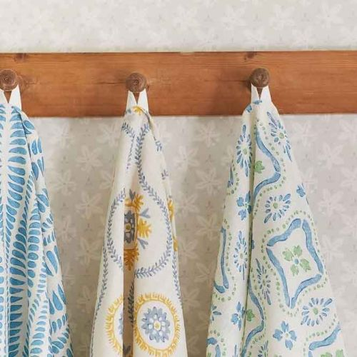 Polonaise Blue and Green Printed Linen Fabric